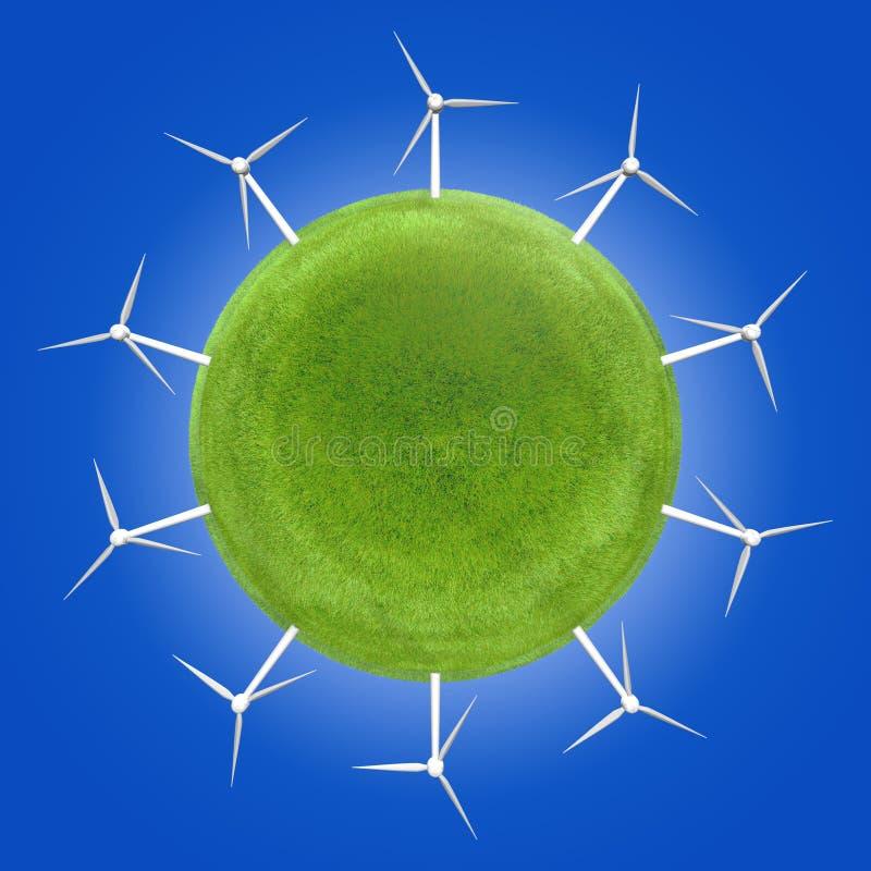 Turbinas eólicas em torno de um planeta verde que simboliza energias limpas ilustração do vetor