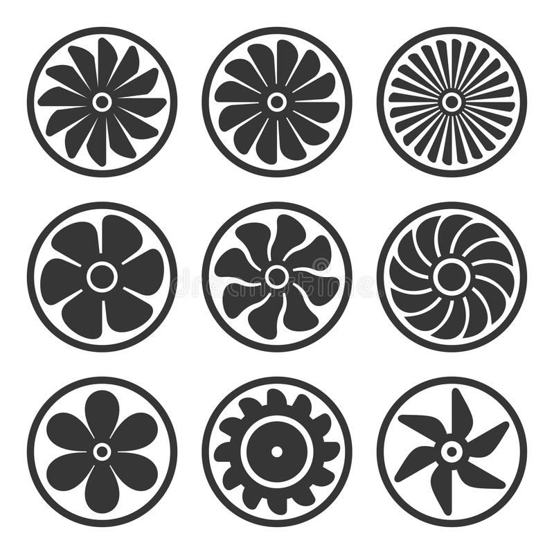 Turbinas e iconos de la fan fijados Poder del motor de turborreactor Vector stock de ilustración