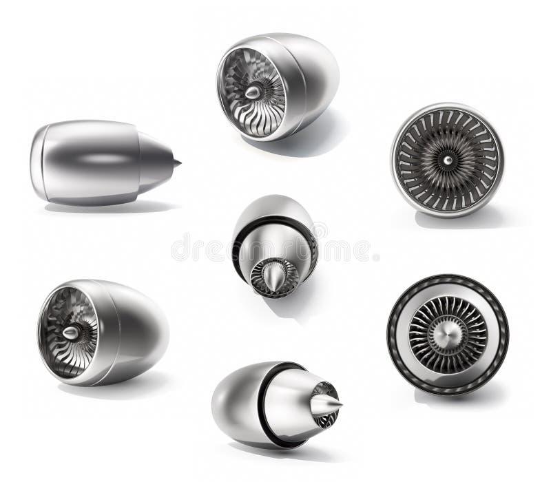 turbinas fijadas, sistema de la representación 3d del motor a reacción aislado en el fondo blanco Aviones de la tecnología, poder stock de ilustración