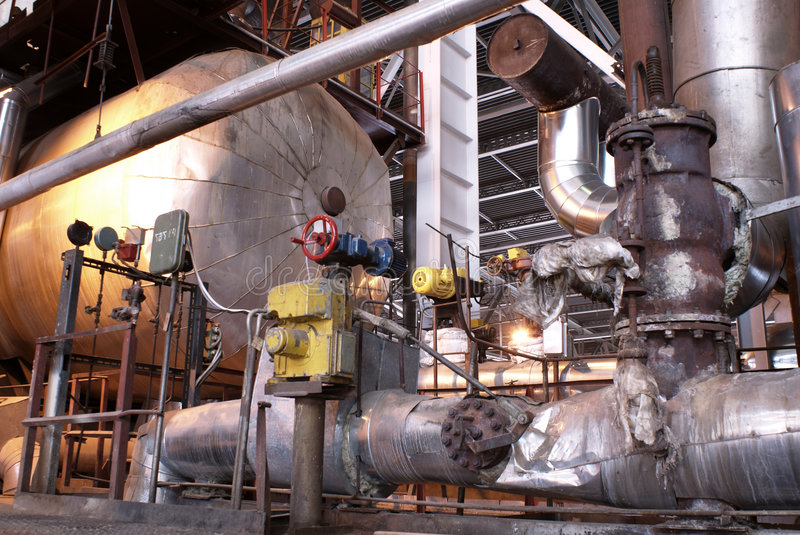 Turbine à vapeur de pipes, de tubes, de machines et  photo stock
