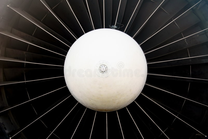 Turbine. The powerful turbine of a jet plane (TU134) now stands still witing for cleaning and restauration stock photos