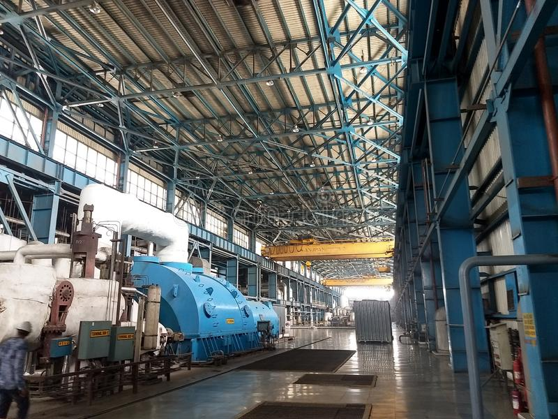 Turbine Area in Thermal Power Plant. This is the turbine area in thermal power plant for producing electricity stock photos