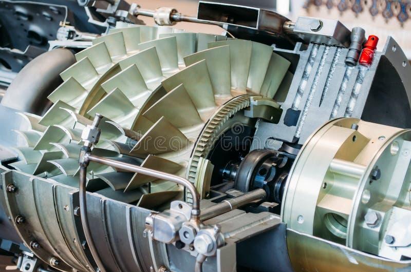Turbine avec des lames dans la section du mécanisme d'industrie du bâtiment image stock