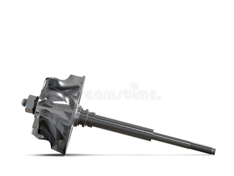 Turbine with blades disassembled. Turbine shaft. Clipping path. 3D rendering. Turbine with blades disassembled isolated on a white background. Turbine shaft vector illustration
