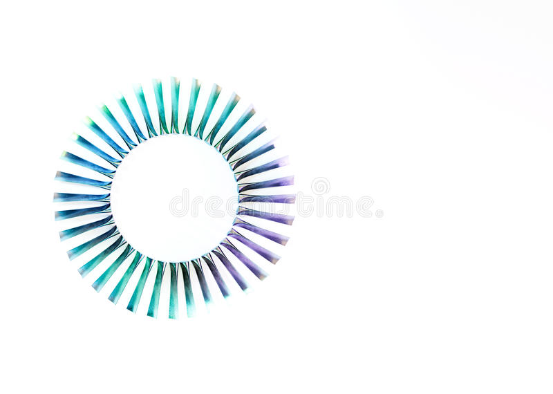 Turbine blades industrial abstract on white background. 3d rendering stock illustration