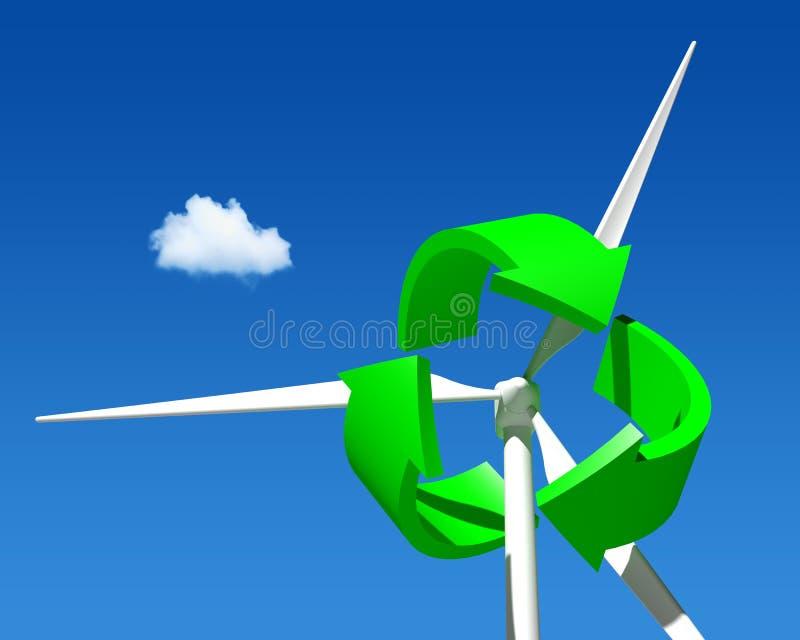 Turbine de générateur de vent au-dessus de ciel bleu. illustration de vecteur