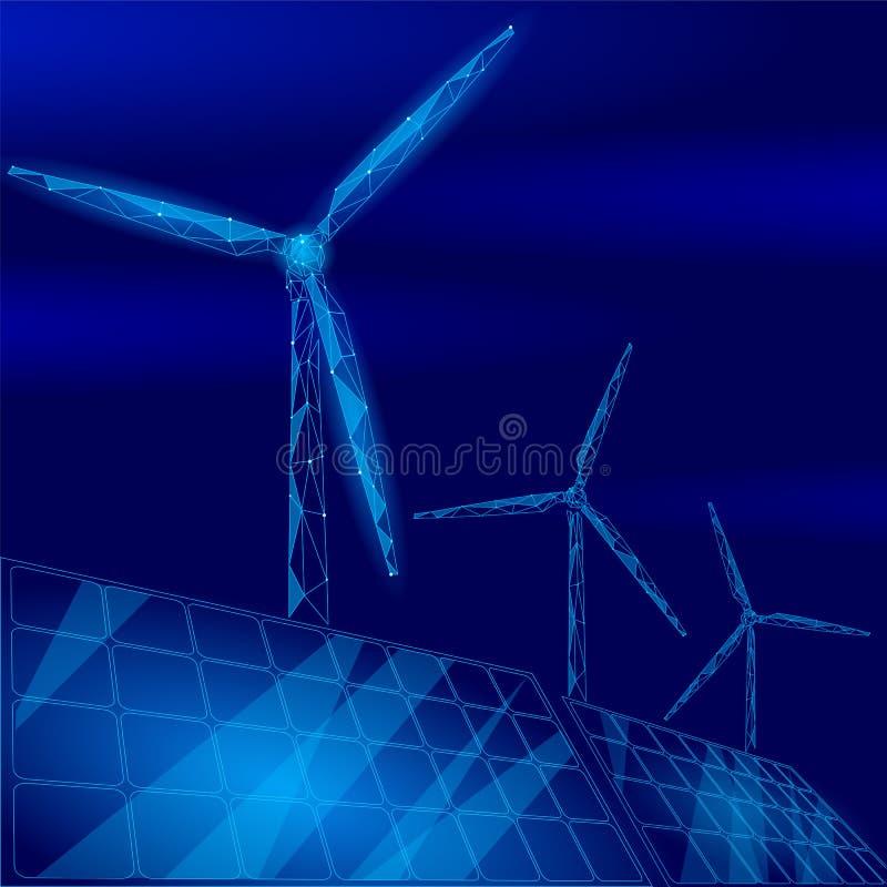 Turbine de moulins à vent de panneaux solaires produisant de l'électricité Environnement vert d'économie d'écologie Puissance ren illustration stock
