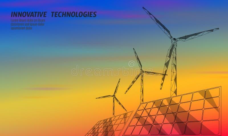 Turbine de moulins à vent de panneaux solaires produisant de l'électricité Environnement vert d'économie d'écologie Puissance ren illustration libre de droits