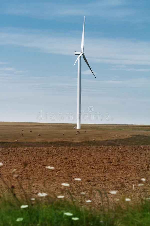 Turbine de vent éolienne sur le champ cultivé images stock
