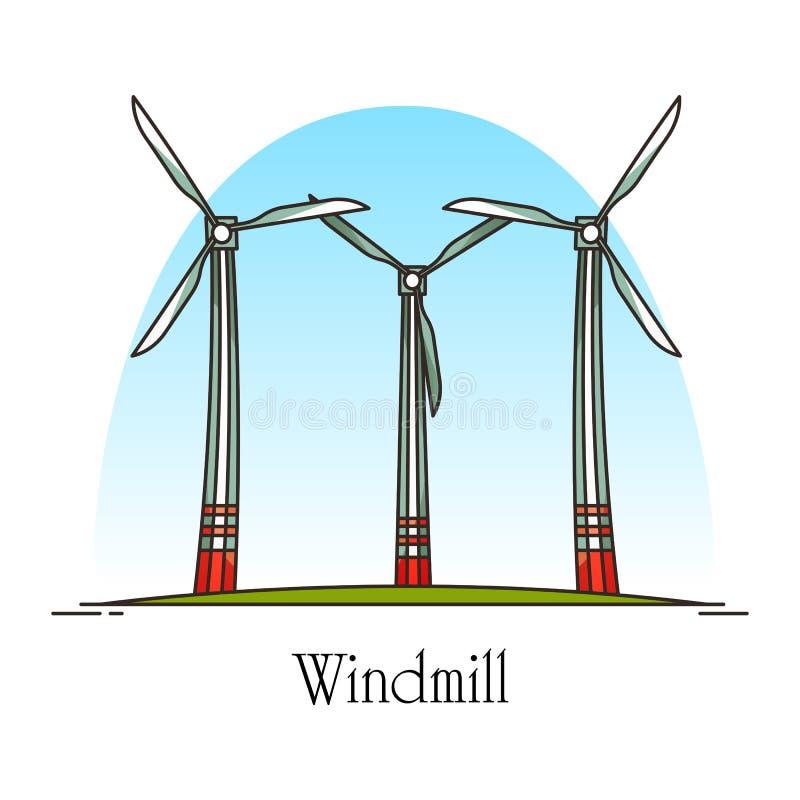 Turbine de vent de bande dessinée ou moulin à vent d'énergie de rotation illustration libre de droits