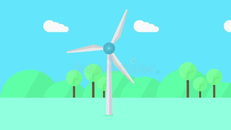 Turbine de vent dans l'action, illustration de bande dessinée illustration de vecteur