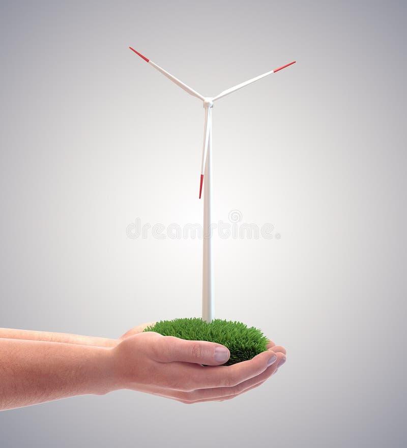 Turbine de vent dans la main d'un homme illustration de vecteur