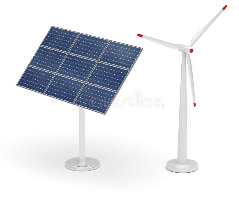 Turbine de vent et panneau solaire illustration stock