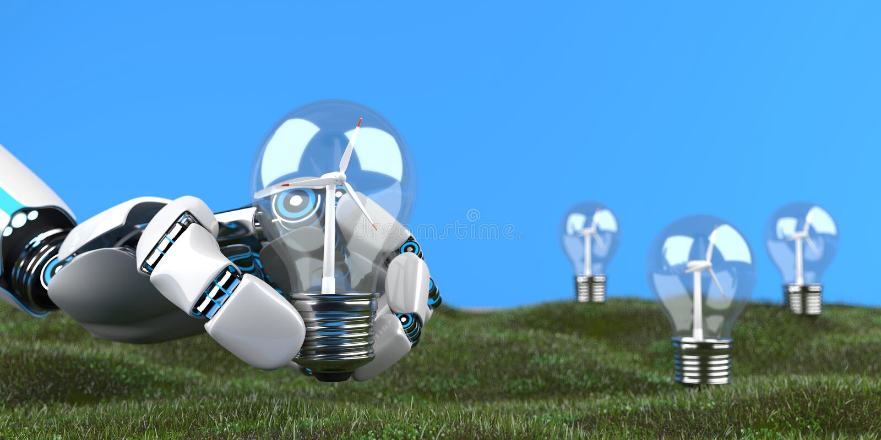 Turbine de vent de main de robot de humanoïde illustration de vecteur