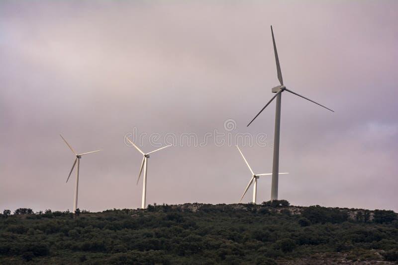 Turbine de vent produisant de l'électricité dans la ferme de vent de Las Labradas dans le nord de la province de Zamora en Espagn photographie stock libre de droits