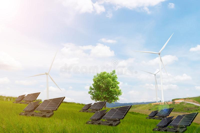 Turbine de vent propre d'énergie électrique d'arbre de concept d'écologie photographie stock