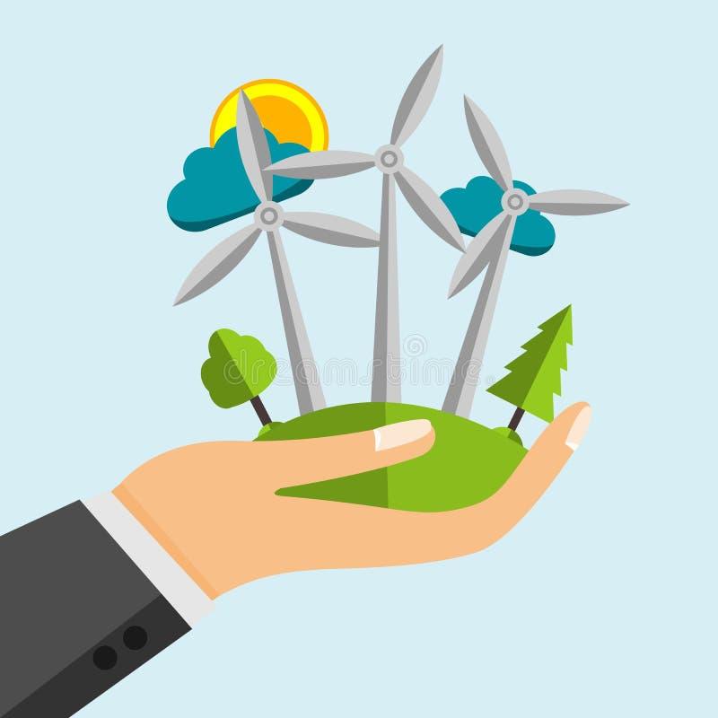 Turbine de vent - sources d'énergie renouvelables dans la main ouverte de bande dessinée illustration libre de droits