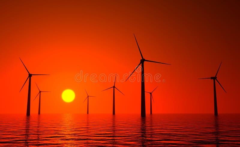 turbine di vento 3d producendo energia in mare illustrazione vettoriale