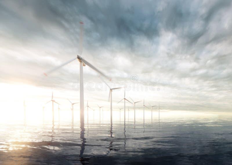 Turbine di vento di terra con il cielo tempestoso di tramonto nel fondo illustrazione vettoriale