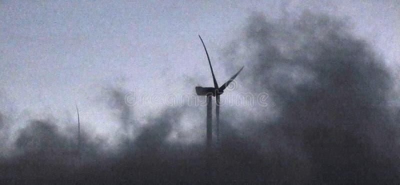 Turbine di vento nel campo verde immagine stock libera da diritti