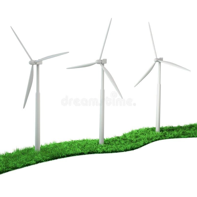 Turbine di vento su un percorso verde da un'erba illustrazione vettoriale