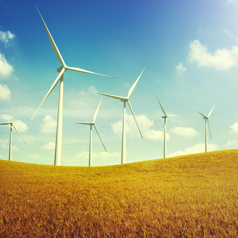 Turbine Green Energy Electricity Technology Concept.  royalty free stock photos