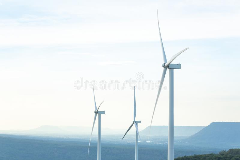 Turbine Green Energy Electricity, Windmill for electric power production, Wind turbines generating electricity on the mountain , stock photography