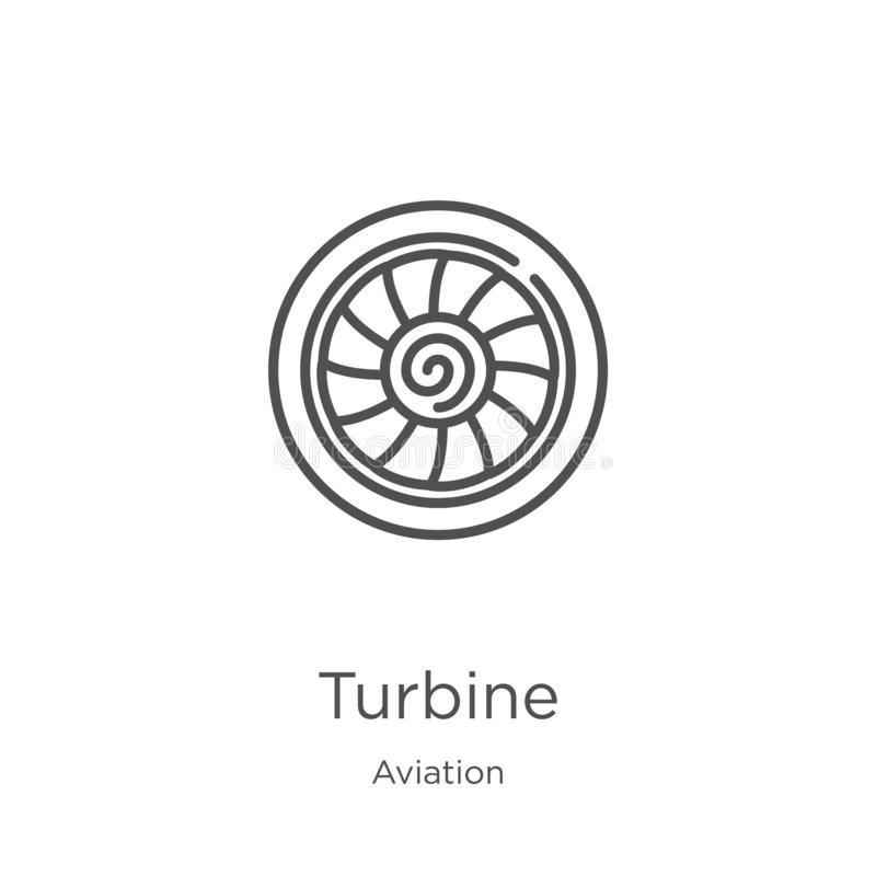 Turbine icon vector from aviation collection. Thin line turbine outline icon vector illustration. Outline, thin line turbine icon. Turbine icon. Element of stock illustration