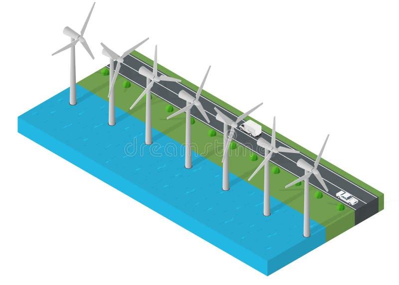 turbine power. Isometric clean energy concept. vector illustration