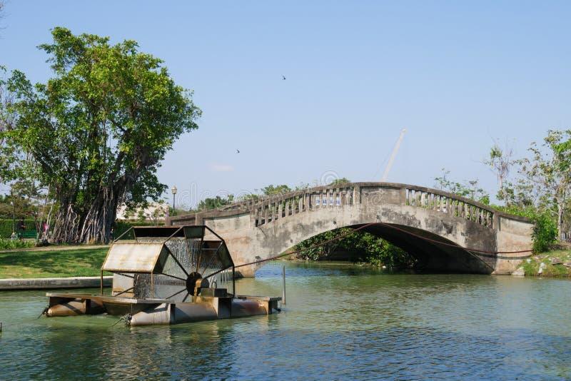 Turbine Rotating Water Bridge and Tree royalty free stock images