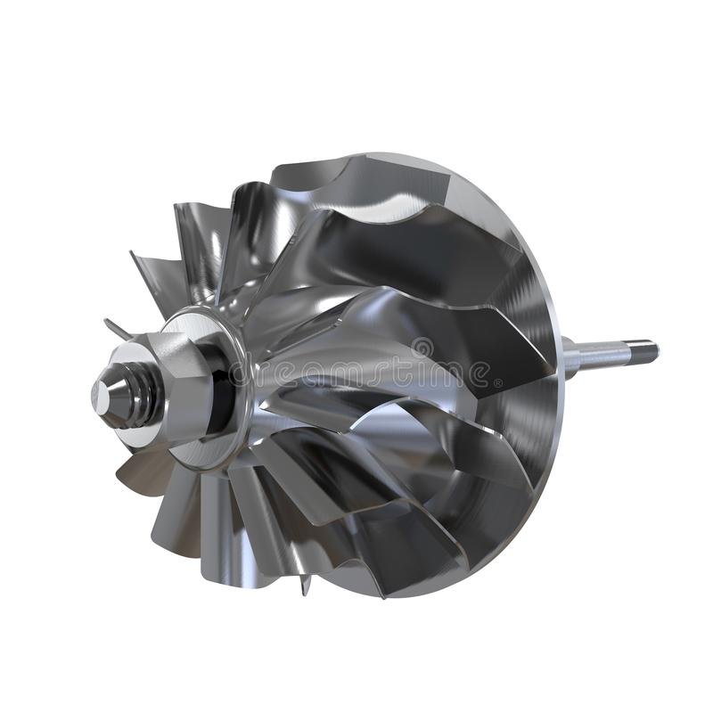 Turbine shaft of an automobile engine isolated on a white background. 3D rendering. Turbine shaft of an automobile engine isolated on a white background. 3D vector illustration
