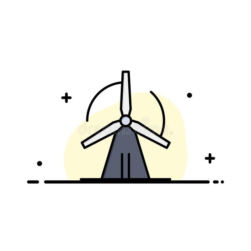Turbine, vent, énergie, affaires Logo Template de puissance couleur plate illustration stock