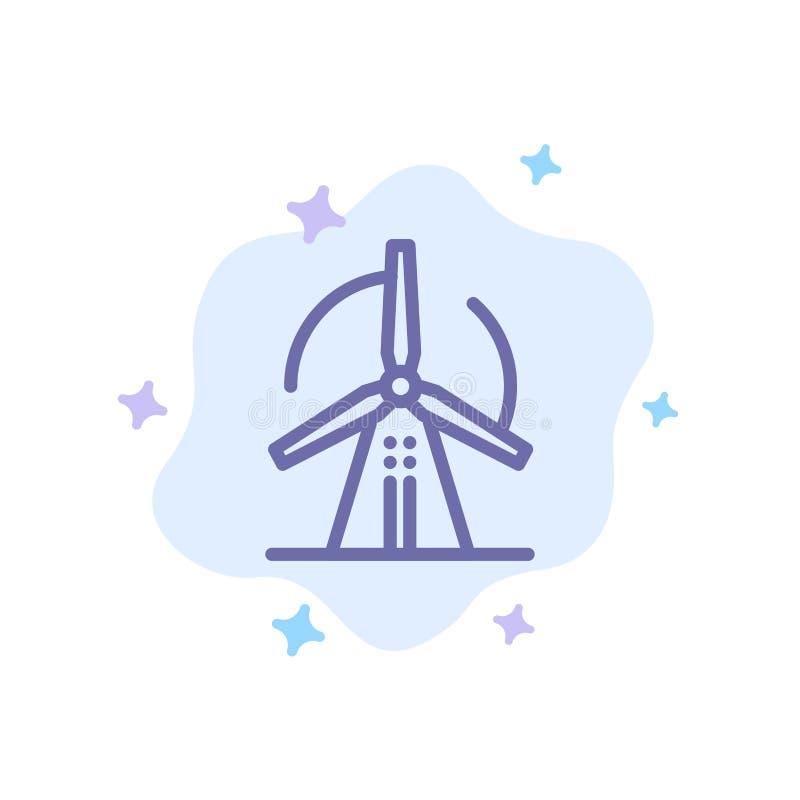 Turbine, vent, énergie, icône bleue de puissance sur le fond abstrait de nuage illustration stock