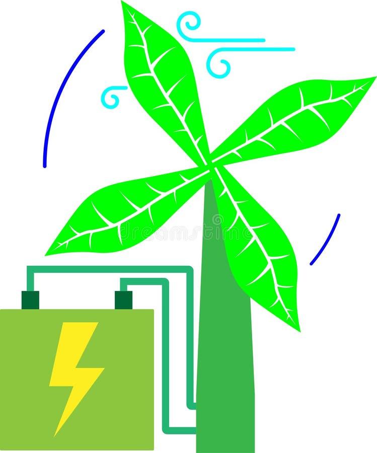Turbine verte de vent images libres de droits