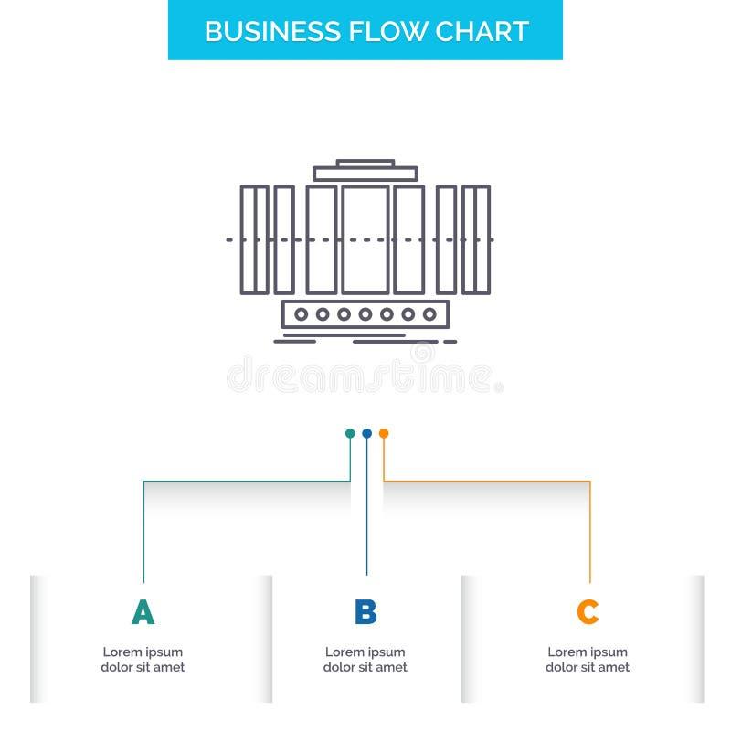 Turbine, verticale, axe, vent, conception d'organigramme d'affaires de technologie avec 3 étapes Ligne ic?ne pour le calibre de f illustration stock