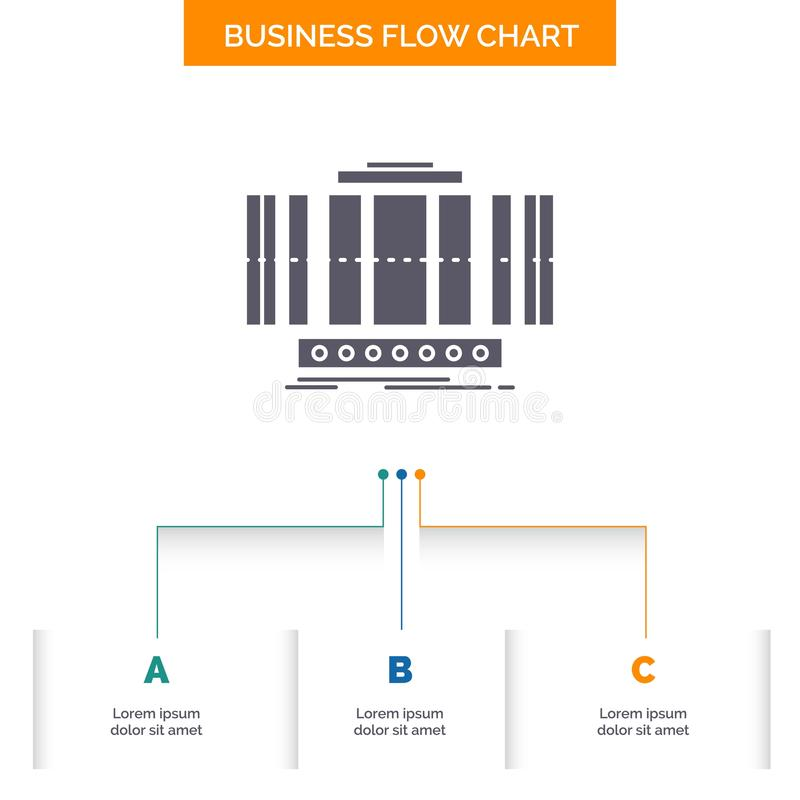 Turbine, verticale, axe, vent, conception d'organigramme d'affaires de technologie avec 3 ?tapes Ic?ne de Glyph pour le calibre d illustration libre de droits