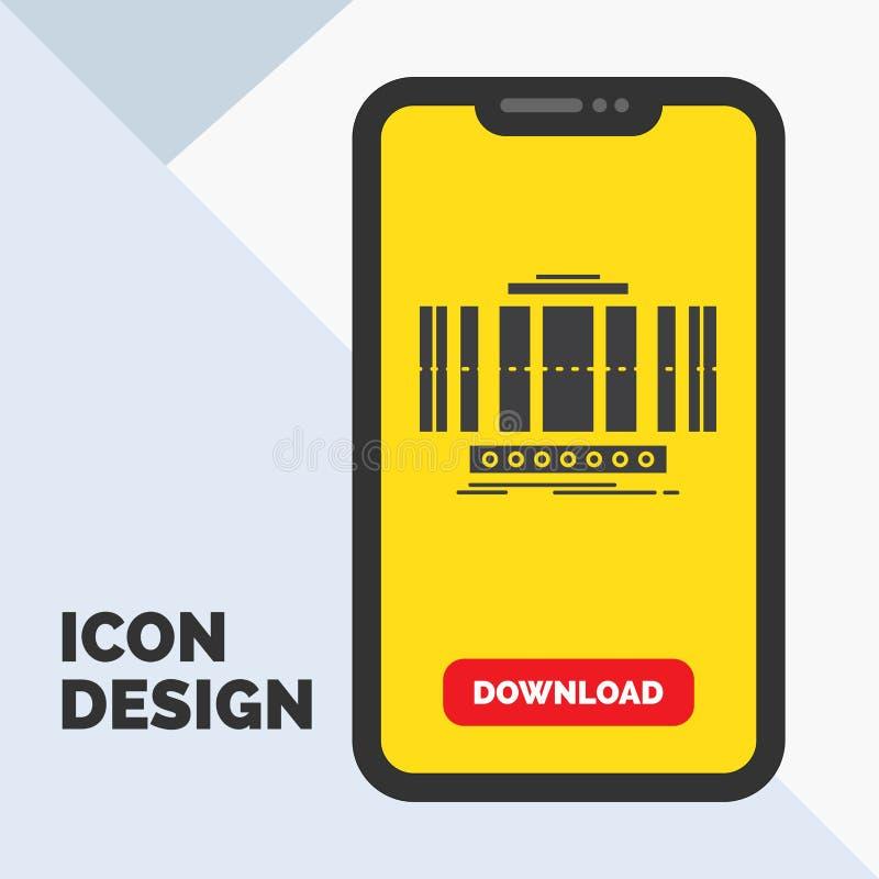 Turbine, verticale, axe, vent, ic?ne de Glyph de technologie dans le mobile pour la page de t?l?chargement Fond jaune illustration libre de droits