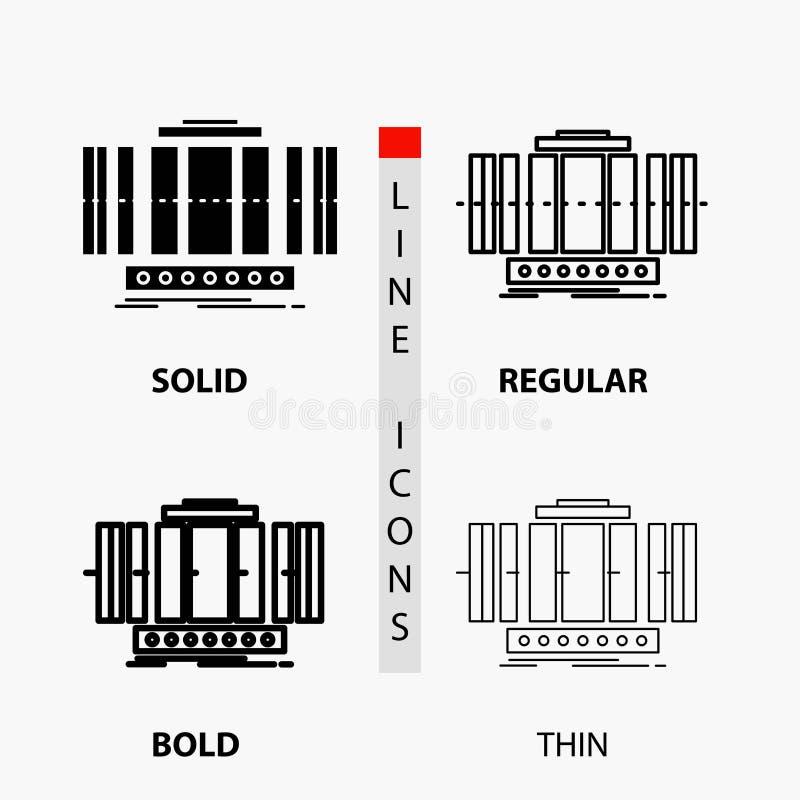 Turbine, verticale, axe, vent, icône de technologie dans la ligne et le style minces, réguliers, audacieux de Glyph Illustration  illustration stock