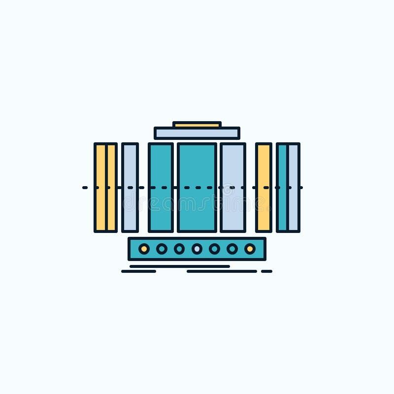 Turbine, verticale, axe, vent, ic?ne plate de technologie signe et symboles verts et jaunes pour le site Web et l'appliation mobi illustration libre de droits
