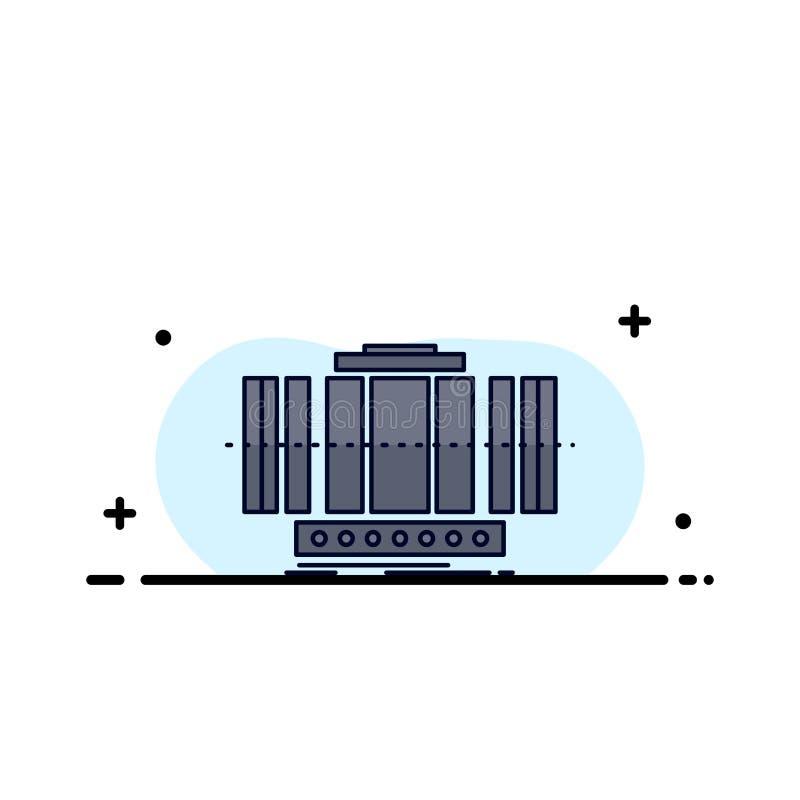 Turbine, verticale, axe, vent, vecteur plat d'icône de couleur de technologie illustration de vecteur
