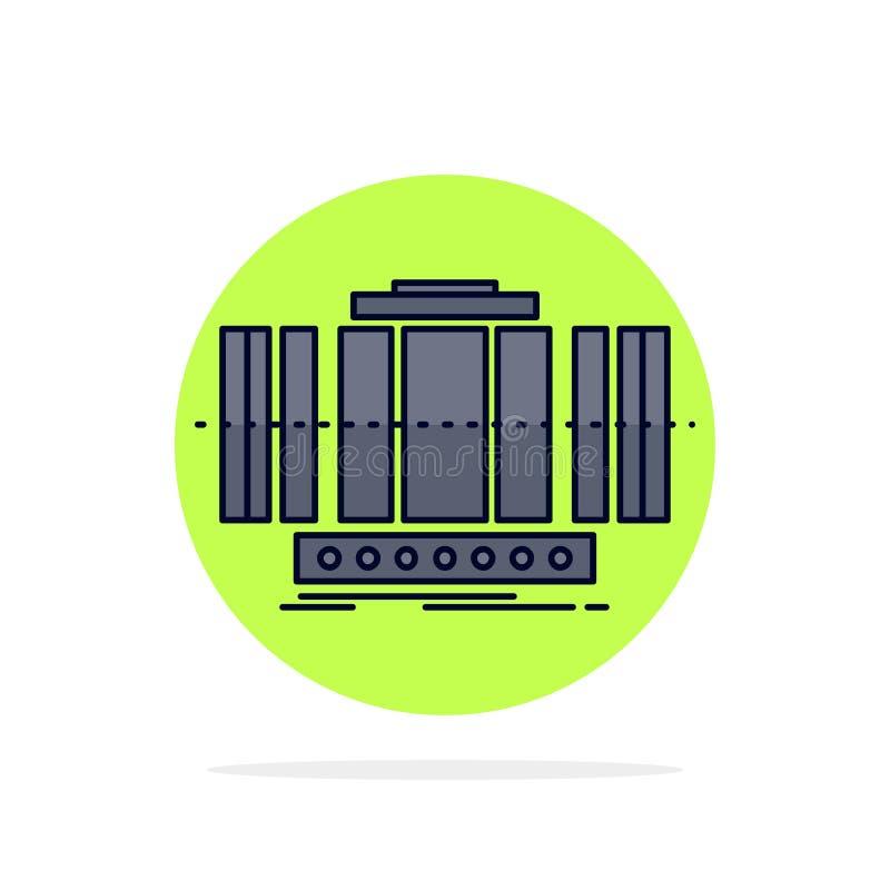 Turbine, verticale, axe, vent, vecteur plat d'icône de couleur de technologie illustration libre de droits