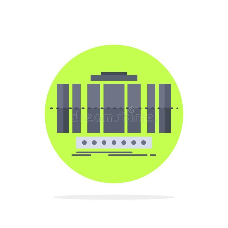 Turbine, verticale, axe, vent, vecteur plat d'icône de couleur de technologie illustration stock