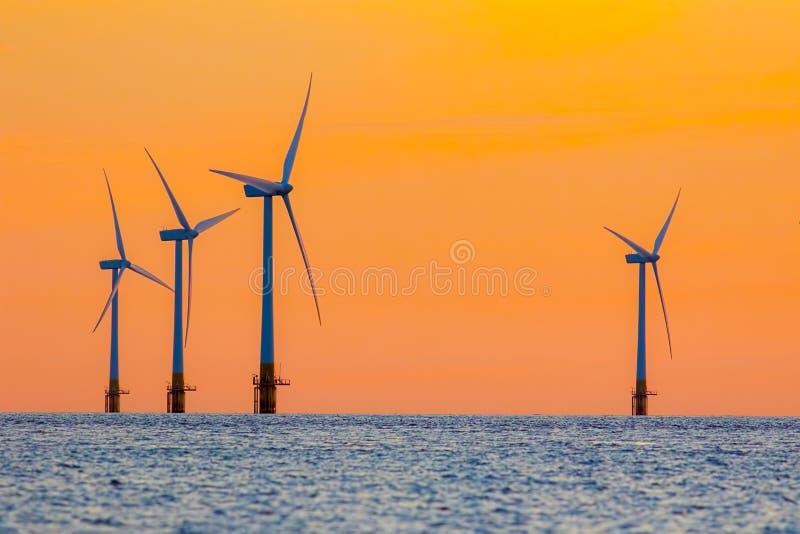 Turbiner för energi för lantgård för frånlands- vind på gryning Overkligt men naturligt arkivbilder