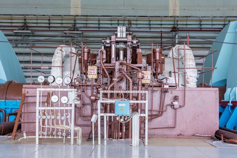 Turbiner i kärnkraftverket royaltyfria foton