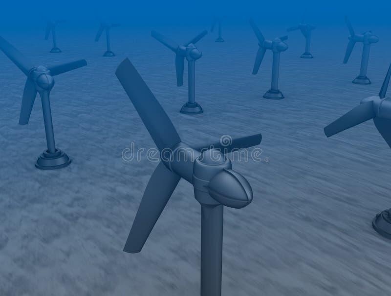 Turbines de raz-de-marée sur le bas de la mer. illustration stock