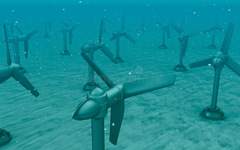 Turbines de raz-de-marée sur le bas de la mer illustration de vecteur