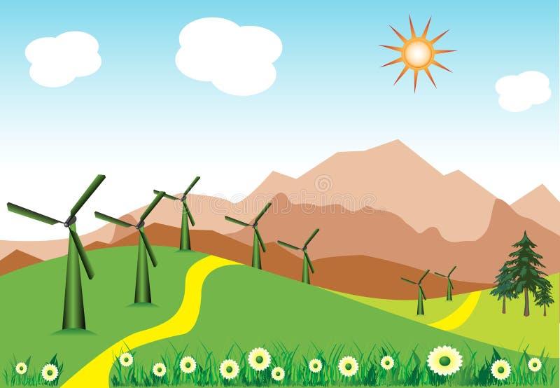 Turbines de vent illustration libre de droits