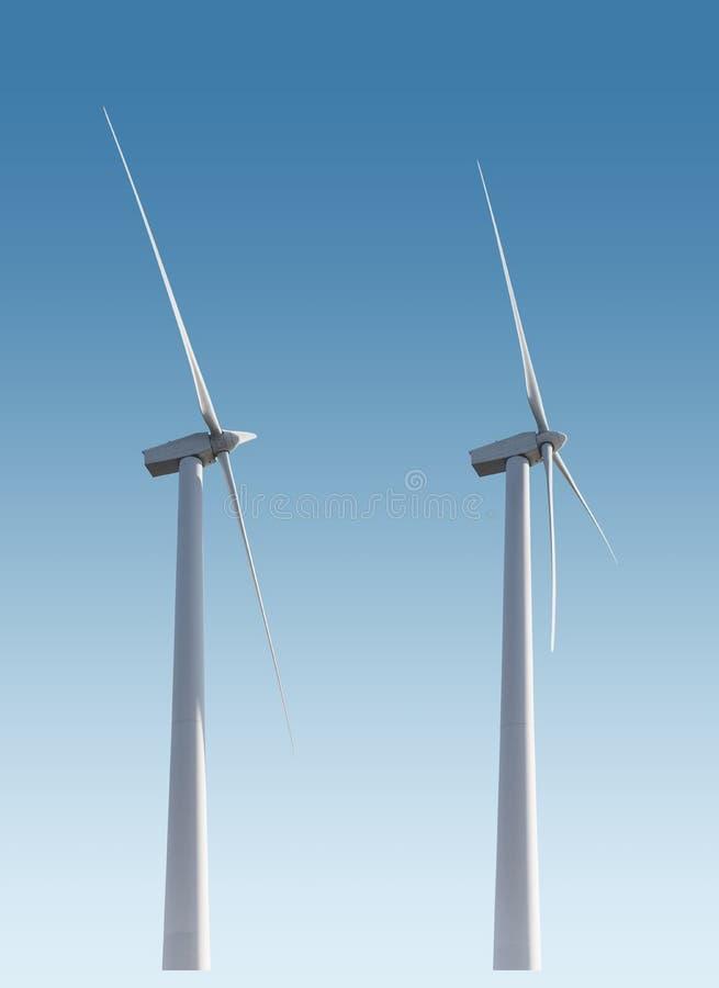 Turbines de vent d'isolement photographie stock libre de droits