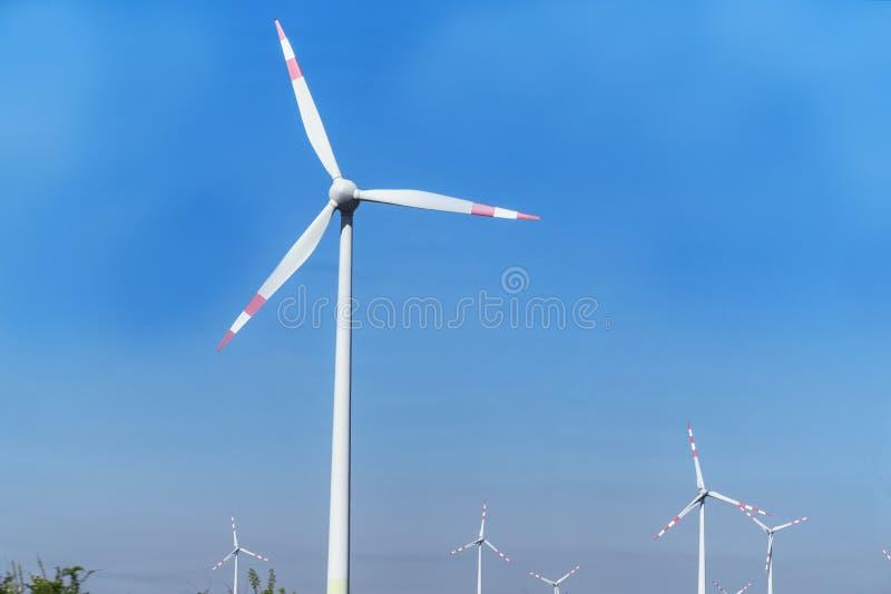 Turbines de vent dans le domaine vert D?veloppement durable, ?nergie renouvelable Moulins ? vent pour la production de courant ?l photo stock