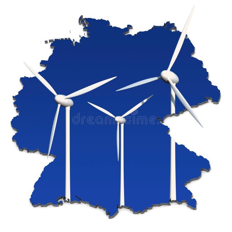 Turbines de vent dans une carte abstraite de l'Allemagne illustration libre de droits